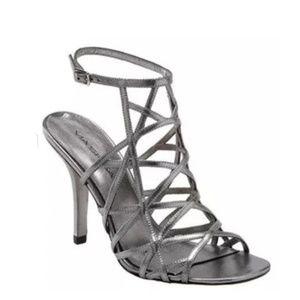 Silver Via Spiga gladiator heels
